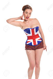 American Flag Corset Pretty Young Redhead In A Union Jack Corset Stock Photo Picture