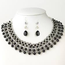 black beaded collar necklace images Alluring silver black faceted glass beaded collar necklace jpg