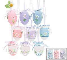 set of 72 colorful hanging easter eggs in 3 different colors with