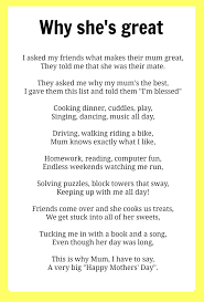 Short Poems About Halloween Mothers U0027 Day Poems Kidspot