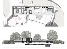 gallery of private house strom architects 3 private house strom architects ground floor plan and west elevation