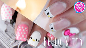 hello kitty nail art tutorial 2 diseños youtube