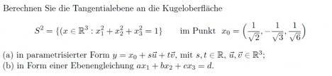 kugeloberfl che berechnen berechnen sie die tangentialebene an die kugeloberfläche