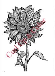 coloring page sunflower instant download zentangle
