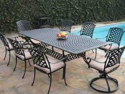 Patio Table And Chair Sets Amazon Com Cast Aluminum Outdoor Patio Furniture 9 Piece