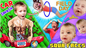 sour baby faces smashing power wheels car field day w