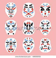 traditional japanese theater masks kabuki seamless stock vector