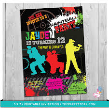 paintball invitation printable boys paint by thepartystork