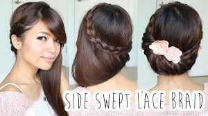 fold over lace braid updo hairstyle hair tutorial pretty