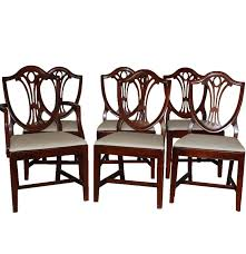 six hepplewhite style shield back dining chairs by drexel ebth