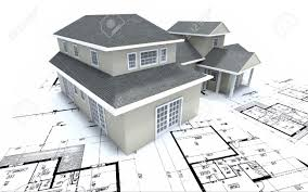 blue prints house house mockup on architect blueprints stock photo picture and