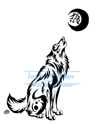 howling wolf and kanji design by insaneroman on deviantart