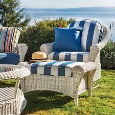 wicker ottoman 50 sunbrella fabrics cottage french linen