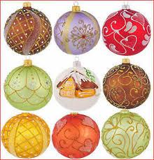 6 glass baubles handmade painted balls tree