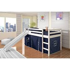 Bunk Bed With Slide And Tent Tent Loft Bed With Slide Finish White Color