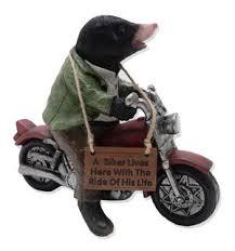 mike the biker mole garden ornament