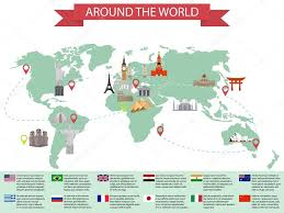 China On Map by Infographic World Landmarks On Map Kremlin And Eiffel And Leaning