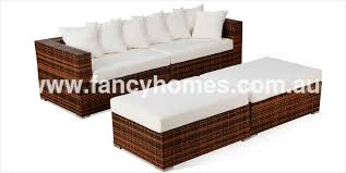 Kupang Wicker Outdoor Sofa Bed  Seater  Ottomans L Fancy - Outdoor sofa beds