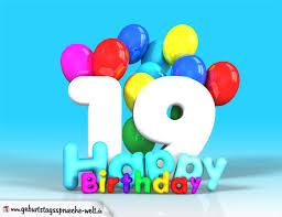 spr che zum 19 geburtstag 19 geburtstag bild happy birthday mit ballons