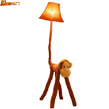 Standing Lamps Hghomeart Striped Cloth Cartoon Monkey Floor Lamps Creative