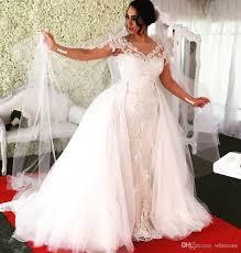 new designer 2017 detachable train mermaid wedding dresses sheer