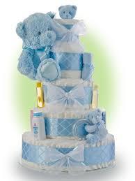 ideias para bolo de fralda blue teddy bear baby shower diapers