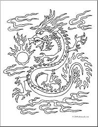 clip art chinese dragon coloring abcteach abcteach