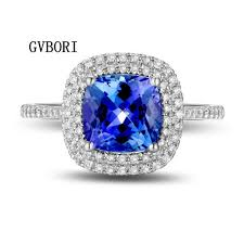tanzanite blue rings images 2 3 2 5ct blue gemstone ring 0 4ct natural diamond 18k gold women jpg