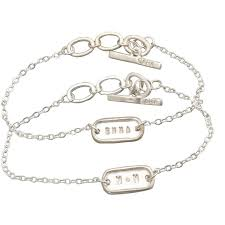 personalized jewelry tiny link bracelet with sterling silver centerpiece and adjustable
