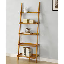 decorating wooden ladder bookshelf on wooden floor matched with