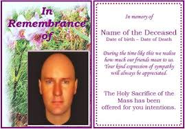 example of rememberance funeral card orchid