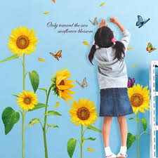 sunflower butterfly in summer removable wallpaper