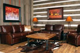 living room rustic design with brown leather sofa arms and wooden