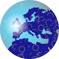 Europe Flag Map by World Globe Featuring The Map Or Europe Made Up Of The European