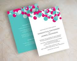 teal wedding invitations fuchsia and turquoise polka dot wedding invitation aqua teal