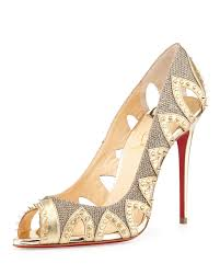 christian louboutin circus city spiked red sole pump gold