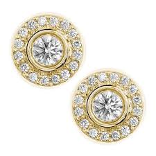 gold diamond stud earrings 0 75ct f i1 diamond frame stud earrings