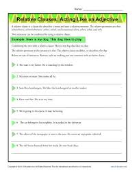 relative clauses acting like an adjective grammar worksheets