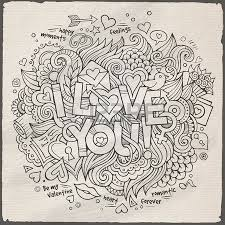 love hand lettering and doodles elements sketch royalty free