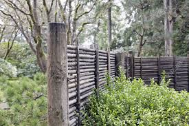 wood and bamboo fencing at portland japanese garden oregon stock