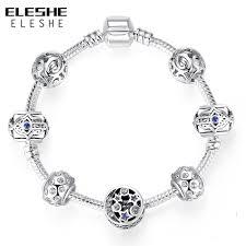 silver star charm bracelet images Eleshe silver charm bracelet bangle with blue turkish evil eye jpg