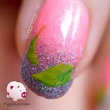 piggieluv freehand spring leaves nail art