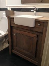 bathroom small brown wood farmhouse bathroom vanity in natural