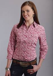 roper ladies red paisley 3 4 sleeve cotton snap western shirt