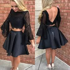 2018 little black two pieces lace top prom dress butterfly long