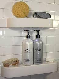 Bathroom Shower Organizers Bathroom White Ceramic Corner Shower Shelves On White Backsplash