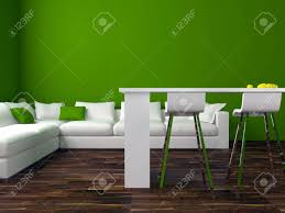 interior design of modern green living room with big white sofa