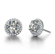 white gold earrings studs excellent 14k white gold earrings 1ct cut halo
