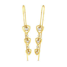 sui dhaga earrings design diamond yellow gold 18k trillion sui dhaga candere