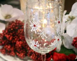 Decoration Christmas Glass by Christmas Wine Glasses Set Of 4 Hand Painted Christmas